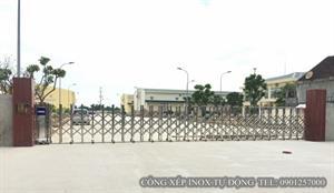 Lắp đặt cổng xếp inox tự động tại Nghệ An