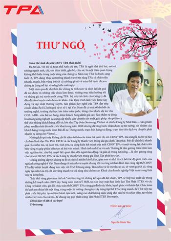 Tổng giám đốc Nguyễn Minh Tân gửi Thư ngỏ dành cho cán bộ nhân viên TPA