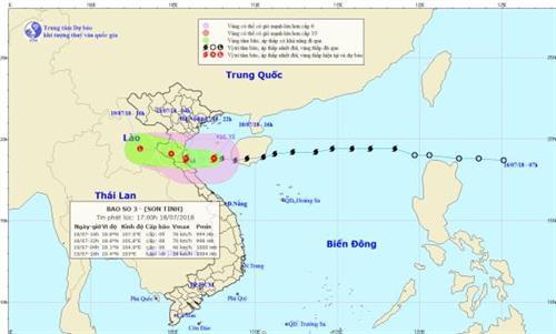 Bão số 3- Sơn Tinh vào Vịnh Bắc Bộ, đang hướng vào Thái Bình - Quảng Bình.