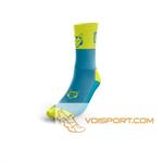 Tất Otso Multisport - LIGHT BLUE & FLUO YELLOW - Cổ trung (OSLb/Fym)