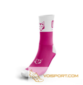 Tất Otso Multisport - FLUO PINK & WHITE - Cổ trung (OSFp/Wm)