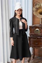 Áo khoác croptop màu đen