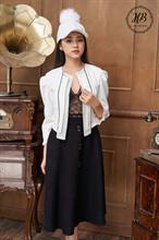 Áo khoác croptop màu trắng