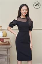 Váy tay bồng hở vai màu đen