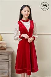 Váy yếm nhung màu đỏ