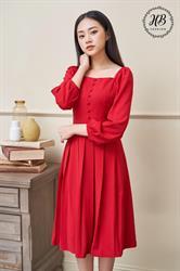 Váy cổ vuông chân xếp ly màu đỏ