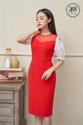 Váy tay bồng hở vai màu đỏ