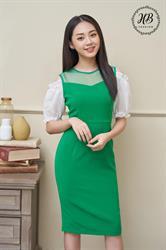 Váy tay bồng hở vai màu xanh
