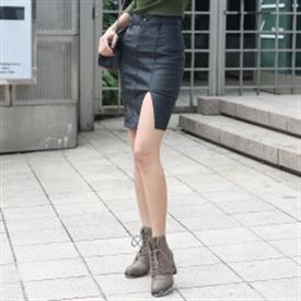 [STAR] Chân váy da xẻ ( YE-01931 Incision Teuim Leather )