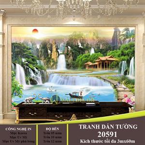 TRANH DÁN TƯƠNG PHONG THỦY THÁC NƯỚC- 20591